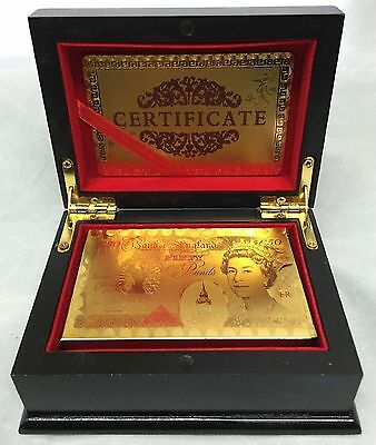 24K Gold Plated Playing Cards Poker Game Deck Wooden Gift