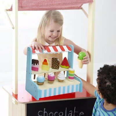 Childs Wooden Ice Cream Shop Lolli Stand Pretend Play Food