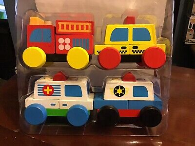My First Rescue Vehicle Set Wooden Block Vehicles From NES
