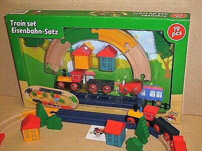 Wooden train set with trees and houses etc. EX - DISPLAY