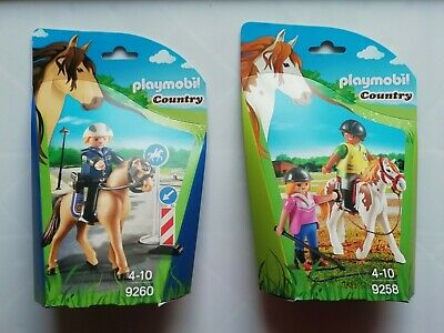 2 x Playmobil Country Sets police officer & horse +