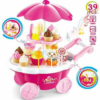 Buyger 39pcs Plastic Ice Cream Cart Play Food Set Shop Toy