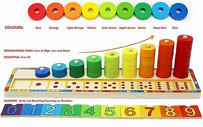 Kids Fun - Wooden Stacking Rings and Counting Games with 45