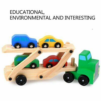 Wooden Car Transporter 4 Push-Along Vehicles Wagon Truck Toy