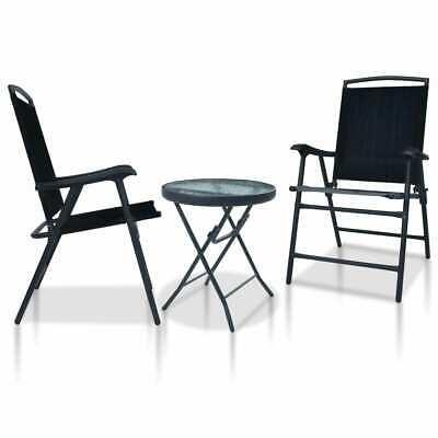 vidaXL 3 Piece Bistro Set Black Steel Balcony Table Chairs