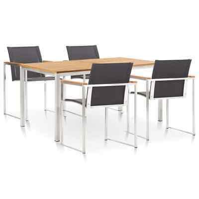 vidaXL 5 Piece Dining Set Textilene and Stainless Steel
