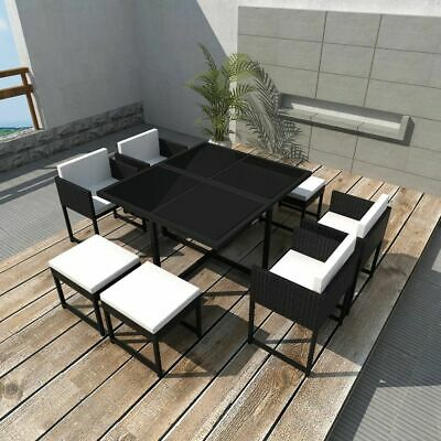 vidaXL Outdoor Dining Set 9 Piece with Cushions Poly Rattan