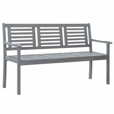 vidaXL Solid Eucalyptus Wood 3-Seater Garden Bench Grey