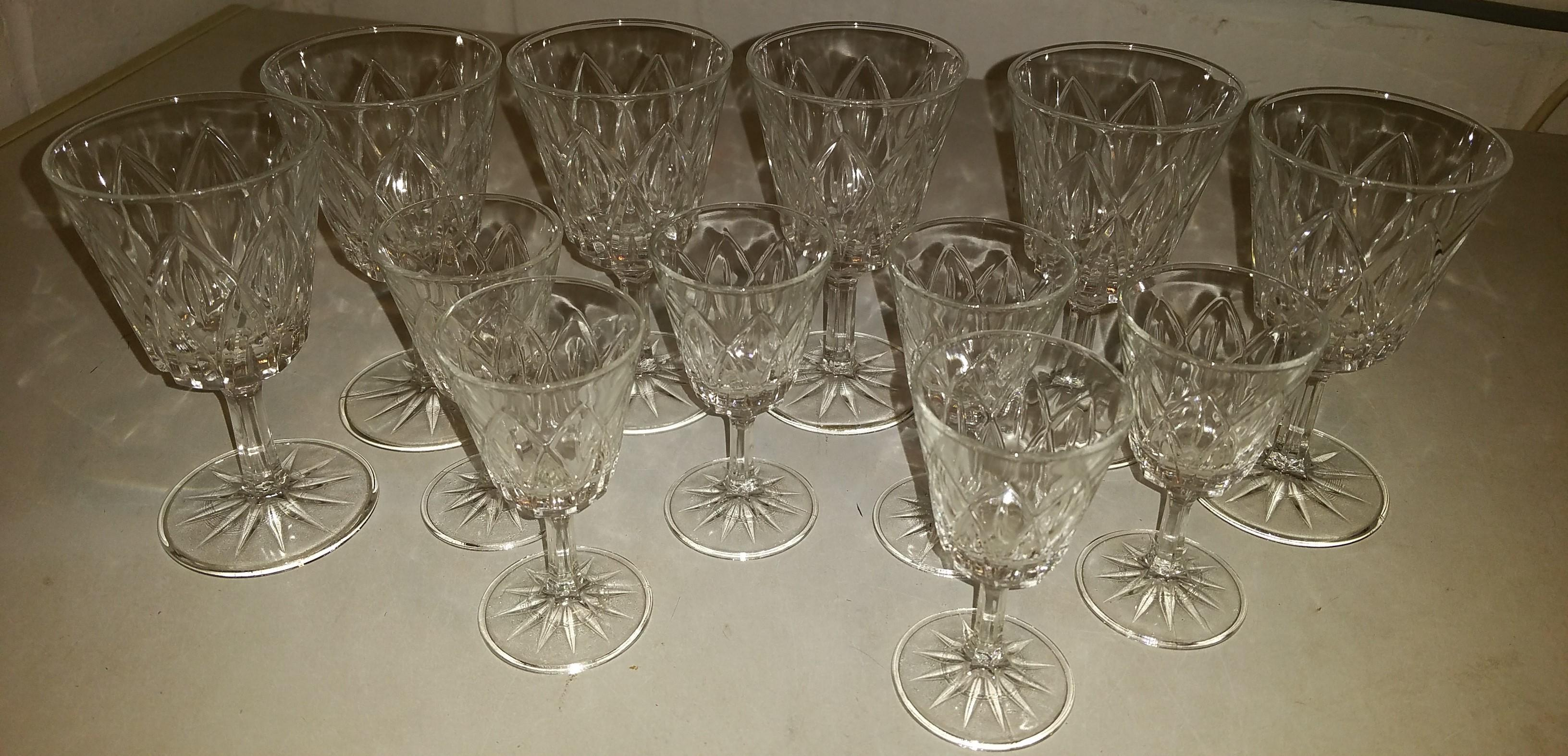 Diamond shaped vintage cut glass 2 sets of port/sherry