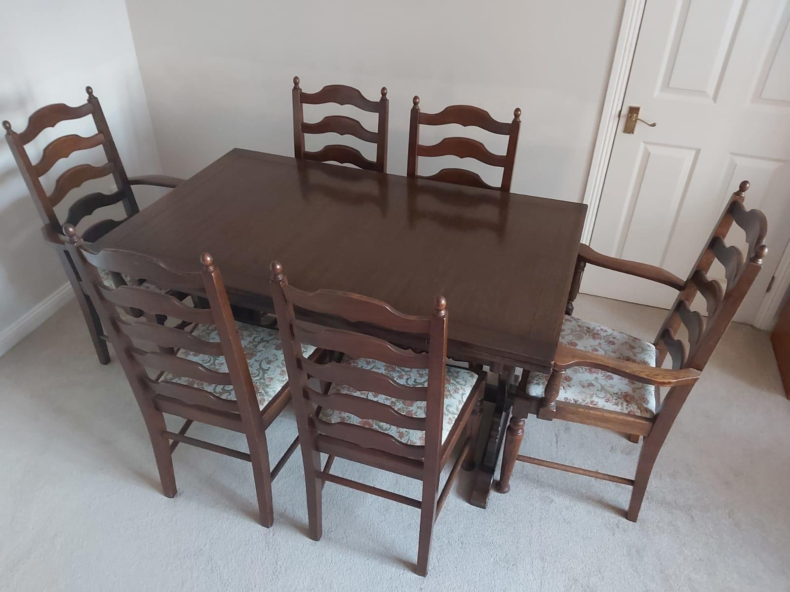 """Old Charm"" Oak Table and chairs dining set"
