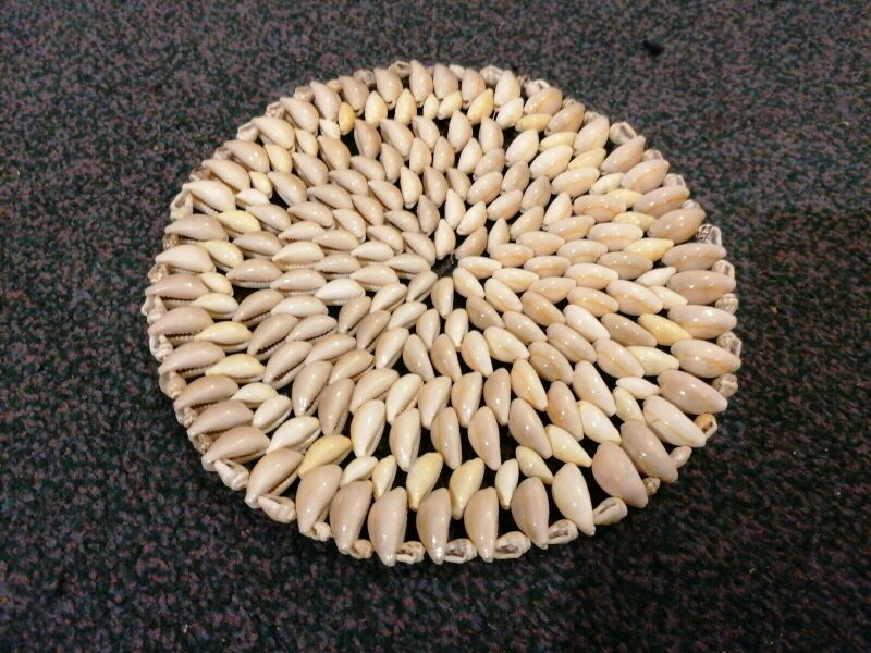 "Sea shell coaster 9"". Polished seashell place mat with"