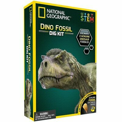 NATIONAL GEOGRAPHIC Dino Fossil Dig Kit Excavate 3 Genuine