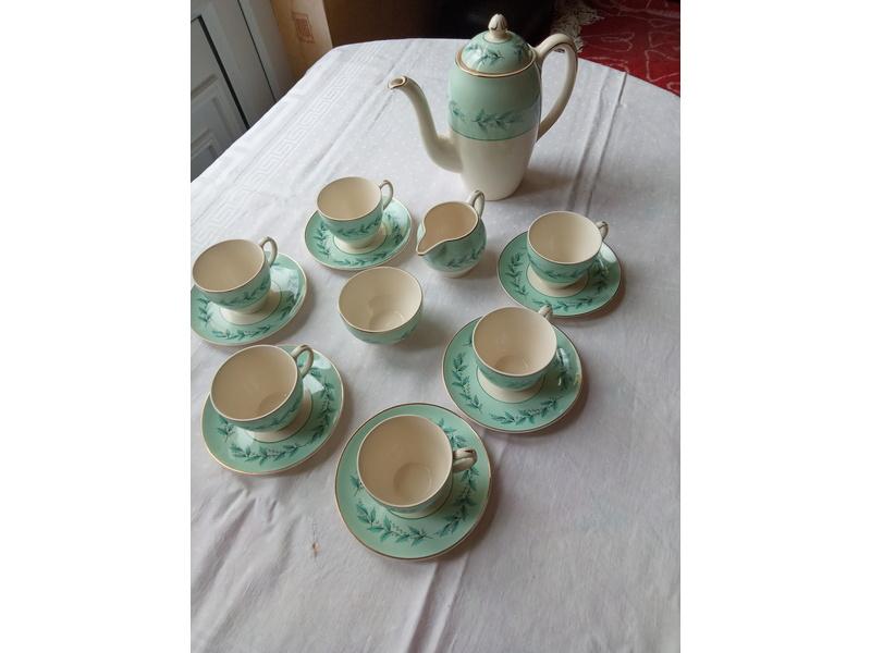 Charming vintage turquoise/aqua tea/coffee set