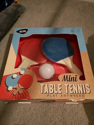 New Retro Mini Table Tennis Set 2 Bats Ping Pong Ball Net