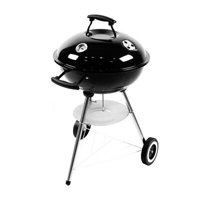 Black BBQ Grill Charcoal Oval Trolley Portable Outdoor