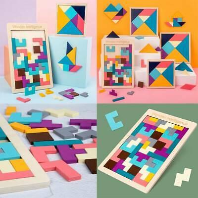 Wooden Tangram Brain Teaser Puzzle Toys Tetris Game Early