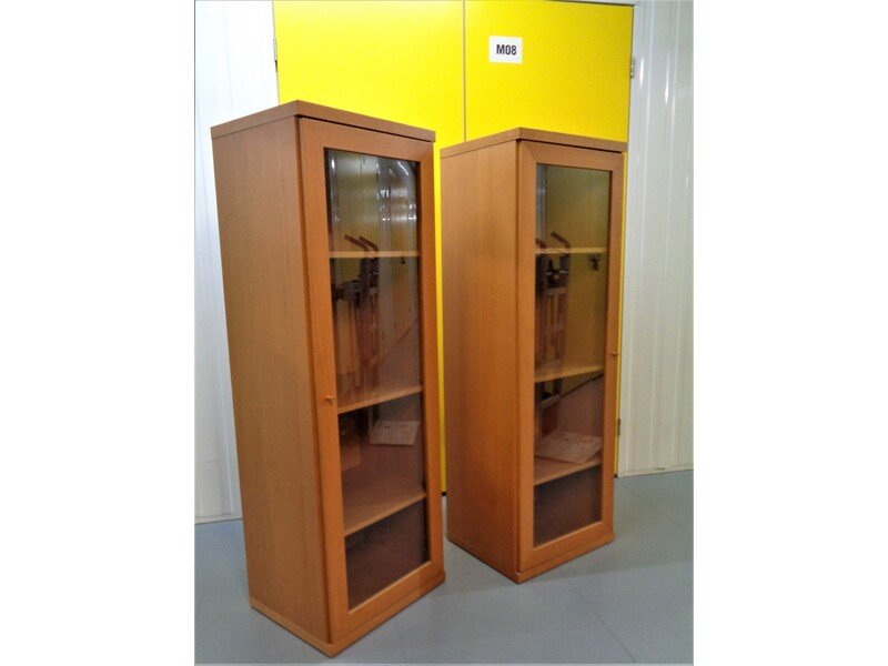 2 brown solid wood display cabinets. Deliveries are also