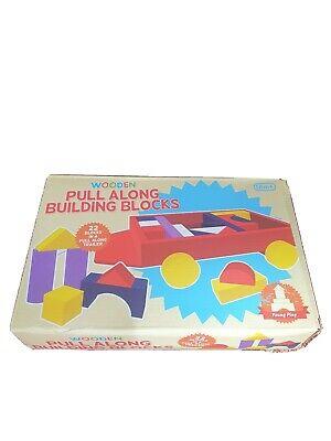 BNIB Wooden Pull Along Building Blocks Pre School Toddler