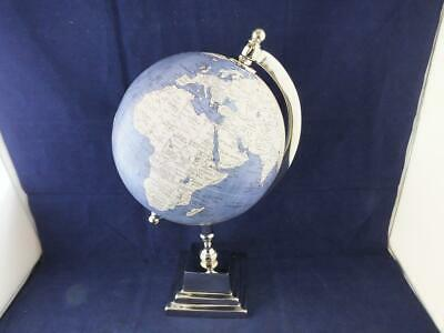 6 inch World Globe in Blue and Cream with a Silver Coloured