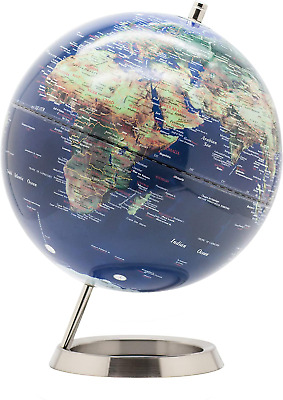 Exerz 25cm World Globe - Stainless Steel Ring Standing,