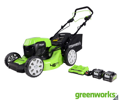 Greenworks 48V Cordless 46cm Self Propelled Lawn Mower + 2 x