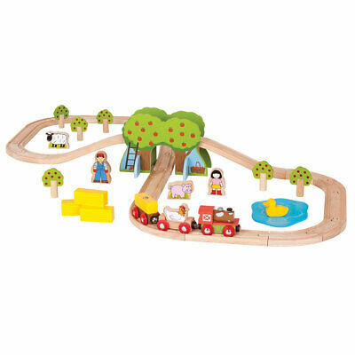 Bigjigs Rail Wooden Farm Train Track Play Set Animal Railway