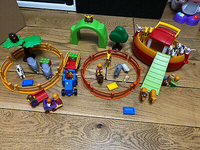 Playmobil 123 Large Zoo With Noah's ark Boat Bundle