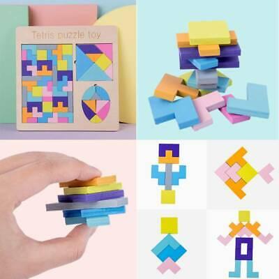 Wooden Tangram Brain Teaser Puzzle Toys Kids Tetris Brain