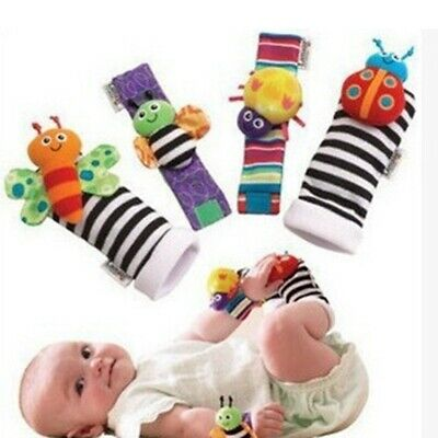 Cute Animal Soft Baby Socks Toys Wrist Rattles and Foot