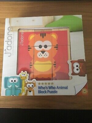 J'adore Wooden Cube Block Puzzle Animal age 3 +
