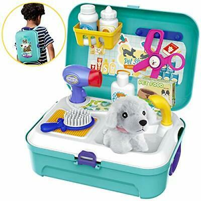 HERSITY Vet Toy Pet Care Kit Role Play Set Grooming Feeding