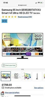 Samsung QE65Q80TATXXU 65 Inch 4K Ultra HD Smart WiFi QLED TV