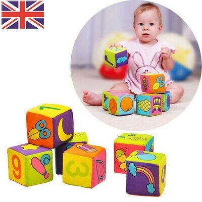 6pcs Cotton Baby Cloth Building Blocks Rattle Soft Cubes Toy