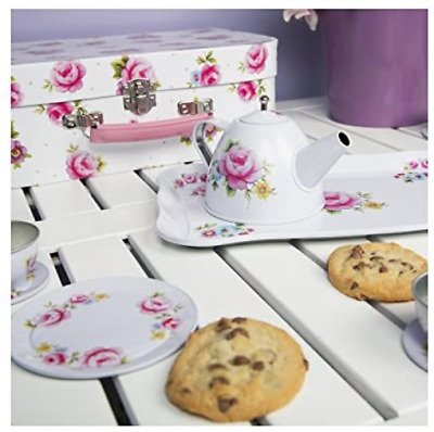 Hoolaroo Tea Party Picnic Box Set - Tin Vintage Floral Mini