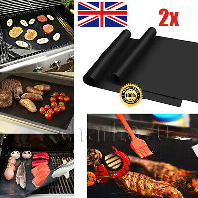 2X OVEN LINER Cooking Mats BBQ Grill Non Stick Teflon Cooker