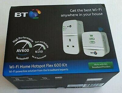 BT Mini Wi-Fi Home Hotspot Flex 600 Powerline Adapter Kit -