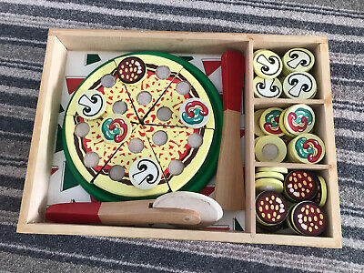 Melissa & Doug Pizza Party Wooden Play Food Set With 54