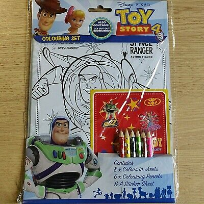 NEW - TOY STORY 4 - COLOURING SET - Pencils Stickers - Woody