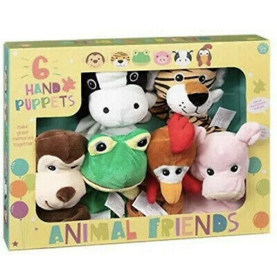 Animal Friends Hand Puppets Set of 6 Puppet Pals Soft Plush