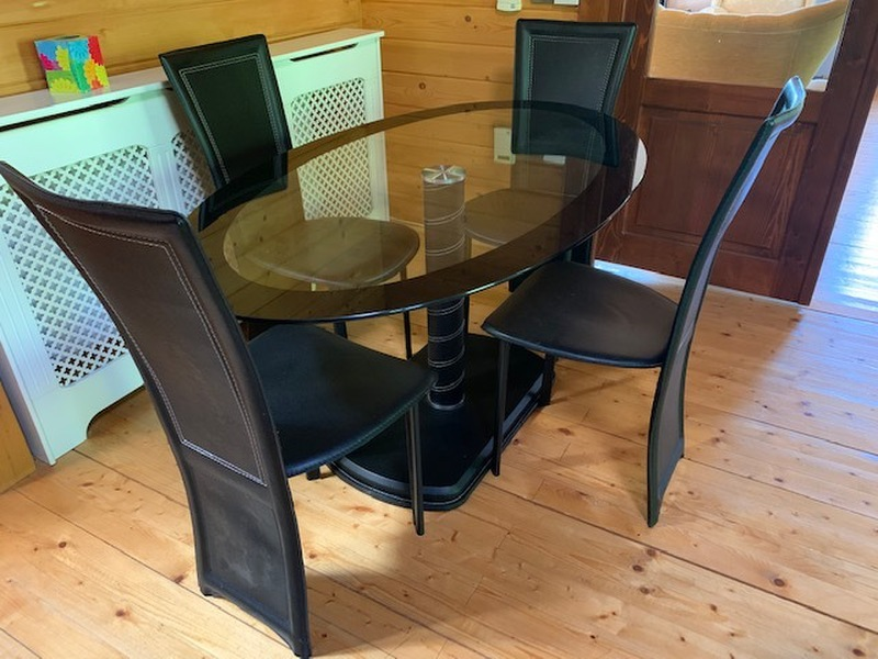 Contemporary Glass Dining Table and 4 Chairs - Black