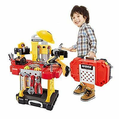 ToyTool 83 Pcs Kids Pretend Play Construction Toy Workbench