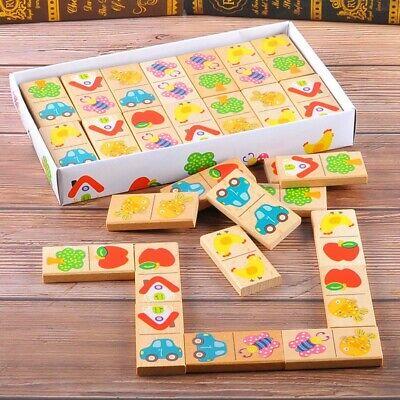 28Pcs Baby Wooden Domino Block Toys Cartoon Garden Animal