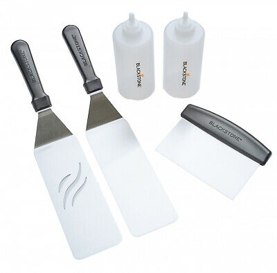 5-Piece BBQ Grill Griddle Cooking Tool Kit Spatula Scraper