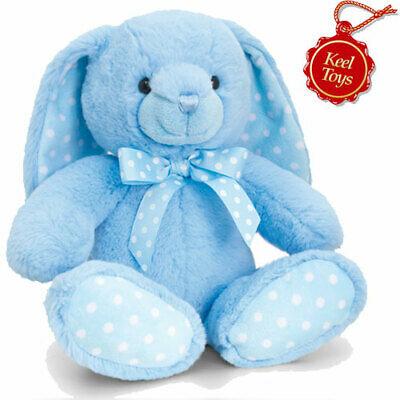 Keel Toys - Baby Spotty Rabbit - Blue - Soft Toy 25cm