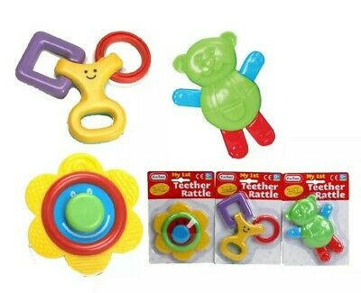 Set of 3 My 1st Teether Rattle 0+ Month Baby Activity Toys