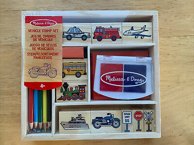"""MELISSA AND DOUG""Vehicles Stamp Set 10 Wooden Stamps &"
