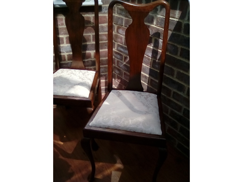 Pair Vintage Queen Anne Style Chairs