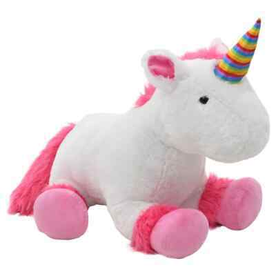 vidaXL Unicorn Cuddly Toy Plush Pink and White Kids Stuffed