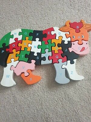 Wooden Cow Alphabet And Numbers Animal Puzzle Jigsaw Kids