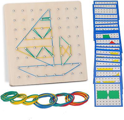 EKKONG Wooden Geoboard Montessori Toys Set,24Piece cards, 40